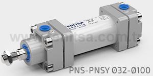 Pnömatik Silindir, Çelik Gövde Normal Seri Yastıklı Silindir, CETOP RP 43P, PNS, PNSY, 32,40,50,63,80,100 PNS, PNSY